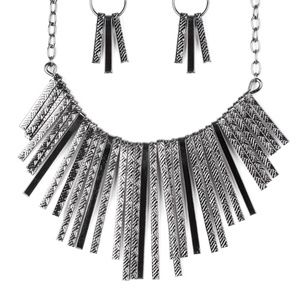 **5 for $25Black and Silver Necklace with Earrings